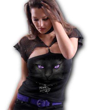 BLACK CAT - Mesh Ring Cap Sleeve Top Black